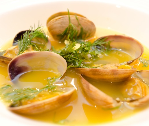 Hot-and-Sour Clam Soup with Manila Clams, King Oyster Mushrooms, Turmeric, and Dill